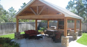 Complete Outdoor Living Area with Patio Cover, Fireplace, Outdoor Kitchen and Bar
