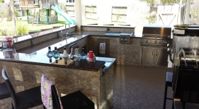 Large Outdoor Kitchen and Bar Area