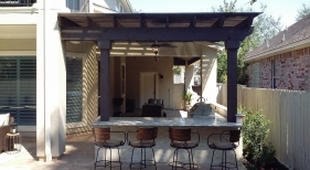 Pergola Covering Outdoor Kitchen and Bar