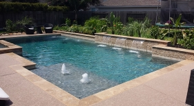 Geometric Pool with Raised Sheer Descents & Bubblers