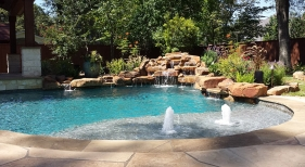 Freeform Pool with Rock Waterfall and Bubbler