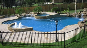 Custom Freeform Pool with Bubblers and Waterfall