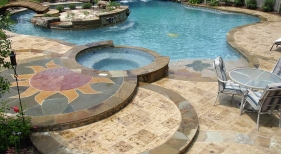Custom Freeform Pool with Island and Custom Hardscaping