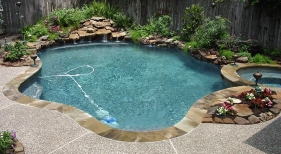 Freeform Pool and Spa with Landscaping