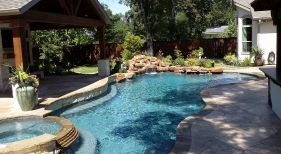 Freeform Pool and Spa with Outdoor Living Area