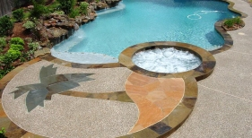 Freeform Pool with Custom Hardscaping