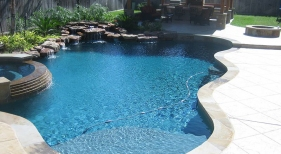 Freeform Pool with Raised Spa and Waterfall
