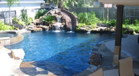 Freeform Pool with Rock Waterfall and Slide