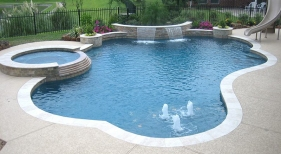 Freeform Pool with Round Raised Spa and Bubblers
