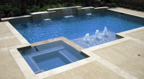Geometric Pool and Spa with Bubblers and Sheer Descents