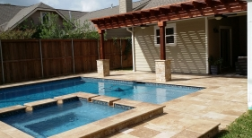 Geometric Pool and Spa with Hardscape and Pergola