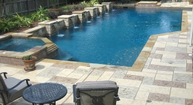 Geometric Pool and Spa with Raised Pilar Sheer Descents