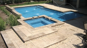 Geometric Pool with Deck Jets and Hardscape