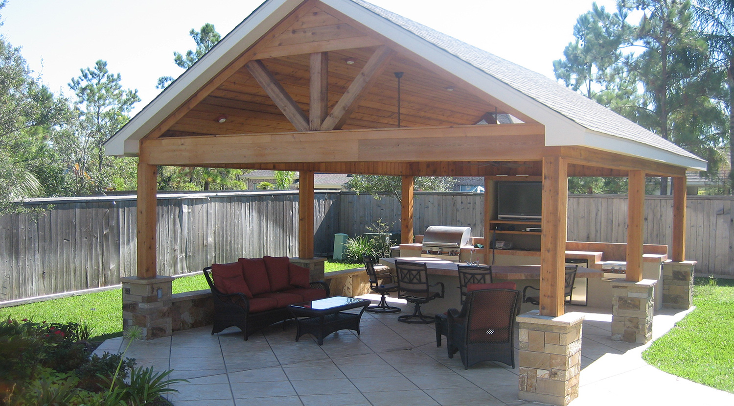 Outdoor Living Photos Houston | Outdoor Patio Photos Cypress on Covered Outdoor Living Area id=73990